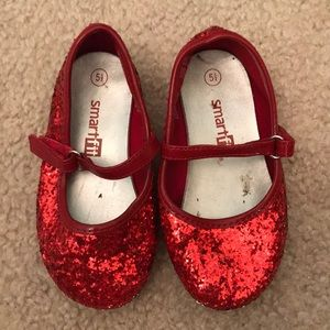 Smart Fit Red Glitter Shoes